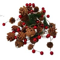 Interior & External Lights Christmas Pine Cone Needle Lamp String Led Copper Wire Red Fruit OWE9826