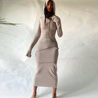디자이너 여성 후드 드레스 새 뒷면 긴 소매 티셔츠 드레스 패션 캐주얼 플러스 사이즈 레이디 옷 가을 겨울 뜨거운 판매 2021