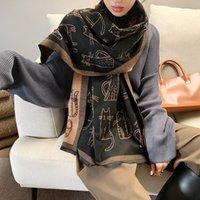 Thick tassel Designer scarf female cat print pashmina imitation cashmere shawl wrap autumn and winter cold protection neckerchief 190*65cm