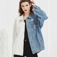 Women's Jackets Personality Denim Jacket Autumn And Winter Color Matching Blue White European American