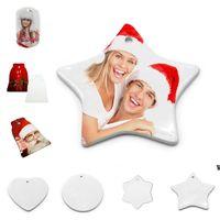 6 Stili Creatività Diy Sublimazione Blank Pendente in ceramica in ceramica Ornamenti di Natale Trasferimento di calore Stampa Ceramica Ornamento HWB7381