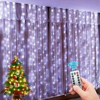 Luces de cadena LED Decoración navideña Control remoto USB Boda Cortina de guirnalda 3M lámpara vacaciones para bulbo de dormitorio hadas al aire libre