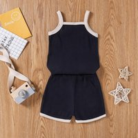 Summer Kids Baby Boy Girl Outfits Ribbed Cotton 2Pieces Set Color Block Sleeveless Tank Tops+Shorts Children Tracksuits 1-6Years Clothing Se