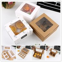 1Pcs Cake Boxes 2 4 6 Cavity Cup Packaging Box With Clear Window Muffin Kraft Paper Container Holder Cupcake Gift Wrap