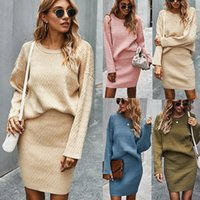 Women's Relaxed-Fit Cozy Two Piece Midi Dress Long Slleve Women Round Neck Bodycon Sweater & Pencil Skirt 2-Piece Elegant Pullover Outfit