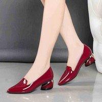 مثير أشار تو النساء الأحذية ميد الكعوب 4.5 سنتيمتر مشرق بو الجلود مضخات للمكاتب السيدات حزب اللباس zapatos موهير 210610 dor2