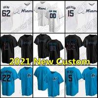 Miami Personnalisé 22 Sandy Alcantara Jerseys Marlins 16 Jose Fernandez 19 Miguel Rojas Baseball 13 Starlin Castro Jestro Jestro Aguilar Brian Anderson