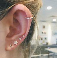 vermeil 925 sterling silver tiny cute moon star stud earring for girl christmas gift Sweet crwon ear cuff dainty jewelry