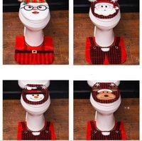 Christmas Toilet Cover Rug Bathroom Mat Set Decor Santa Snowman Christmas-Toilet Seat Covers Home Decoration EWA9091