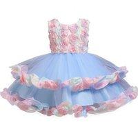 Girls vêtements mignon pageant fête princesse robes élégantes coloré couture gonfleuse robe fille rainbow gâteau voile pour 3-10y 210529