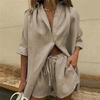 Summer Tracksuit Women 2021 Lounge Wear Shorts Set Short Sleeve Shirt Tops And Loose Mini Suit Two Piece Women's Swimwear