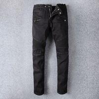 Amir i 964 high street trend jeans trendy young men's black elastic slim pants knee pleated wrinkled Motorcycle Pants 7ZZA