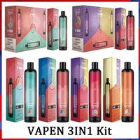 Orijinal Vapen 3in1 3000Puffs Tek Kullanımlık E Sigaralar 3 1 Buharlaştırıcı 3 * 3.2 ml Ön Dolgulu Vape Kalem Hava Akımı Sistemi Taşınabilir Buharları Kiti Randm