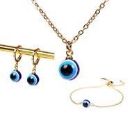 Earrings & Necklace Blue Eye Bracelet Jewelry Set For Women Chain Pendant Fashion Gifts