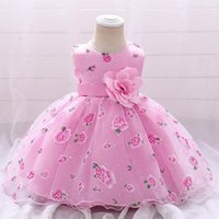 Girls Dresses 1st Birthday Dress For Baby Girl Princess Flower Kids Clothes Children Print Lace Roses Party Formal Clothing B7251