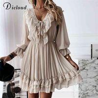 DICLOUD Sexy Lace Women's Party Dress Elegant Long Sleeve Ruffle Chiffon White Dress Summer V Neck Ladies Wedding Clothing 210915
