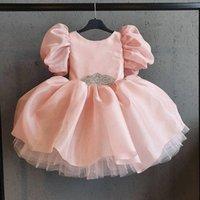2021 핑크 크리스탈 꽃 소녀 드레스 드레스 공 가운 공주 무릎 길이 새틴 Liletle 키즈 생일 미인 웨딩 가운