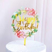 Yeni Ev Renkli Çiçekler Mutlu Doğum Günü Pastası Topper Altın Akrilik Doğum Günü Partisi Tatlı Dekorasyon Bebek Duş Pişirme Malzemeleri Için 516 V2