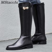 MStacchi Women Motorcycle Shoes Woman Shark Buckle Long Boots Sexy Mujer Zipper Casual Flat Shoes Round Toe Real Genuine Leather A0529
