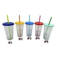 ABD Hissili 24 oza Renk Değiştirme Kupası Sihirli Plastik Kapak ve Saman Ile Tumblers İçme Soğuk Kupası Yaz Bira Kupalar