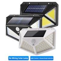 야외 조명 태양 램프 1800 ~ 2400mAh 세 가지 모드 인체 모션 센서 벽 조명 하우스 가든 스트리트 안뜰 방수 IP65 LED 빛