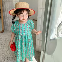 Dudu 새로운 한국어 품질 INS Kids Girls Foral 드레스 어린이 짧은 소매 공주 드레스 여름 부티크 키즈 의류 579 Y2