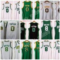 Dikişli Erkekler 2021 Şehir Beyaz Jayson 0 Tatum Kemba 8 Walker Jersey 15 Koleji NCAA Basketbol Gömlek Yeşil Siyah Altın