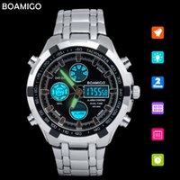 Наручные часы Boamigo аналоговые цифровые мужчины военные часы из нержавеющей стали дата недели будильник светодиодный свет человек бренд хронограф спортивные часы
