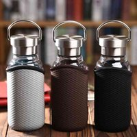 Portable Drink Coffee Glass Water Bottles with Anti- Bag Travel Coffee Mugs 350ML 450ML 550ML 210610