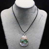 Цепи натуральные abalone оболочки ожерелье с капли формы кулон веревка длина 55 + 5см подвески для элегантных женщин любовь романтические подарочные украшения