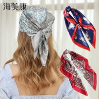 Аксессуары для волос Haimeikang Butterfly Square Silk Silk Floral Print Printband Женщины Девушка Голова Шея Сатин Бандана Платок