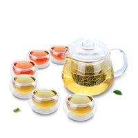 1x 7in1 Kung Fu café conjunto de chá -485ml pote de chá de água resistente ao calor com infusor + 6 * pequenas xícaras de chá canecas