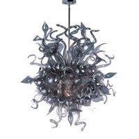 Итальянские серые потолочные светильники искусства цветочные подвесные светильники для гостиной ручной вручную муранской стеклянной люстры со светодиодом 28 на 32 дюйма