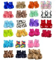 1 pair =2 pieces 18 Styles Plush Teddy Bear House Slippers Brown Women Home Indoor Soft Anti-slip Faux Fur Cute Fluffy Pink Leopard Slippers Women Winter Warm Shoe