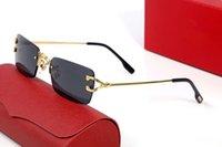 Gafas de sol de moda gris de moda, unisex, marco de metal, sin rimo de oro, oro, oro, con caja original.