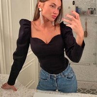 Women's Blouses & Shirts Special Offer Korean2021utumn Solid Color Vintage Women Puff Sleeve Square Sexy Small V-neck Slim Blouse