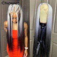 스트레이트 투명 레이스 프론트 가발 Ombre 613 인간의 머리 가발 브라질 실버 그레이 컬러 레미 정면 표백 매듭