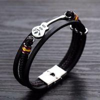 Charme bracelets guitare wrap bracelet en cuir bracelet en acier inoxydable professeur de musique cadeau amoureux apprendre à jouer des bijoux
