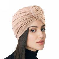 Ladies Turban bonnet soild color cotton top knot Inner Hijab Caps african twist headwrap Women head wraps India Hat Hijabs Cap