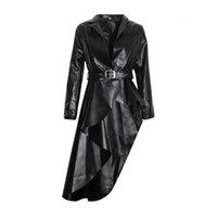 2019 NEW Long Black PU Faux Leather Jacket Women Classic Moto Biker Jacket Spring Autumn Lady Slim Basic Coat Outerwear R1077