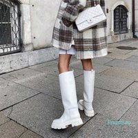 fashion-Design Gothic Style Female Boots Square Heel Slip-On Black Knee-High Metal Decoration Cool Street Mid-Calf Women Boots