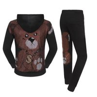 Men's Tracksuits Black Hoodie Tops 3D Bear Embroidery Fashion Sports Style Pants 100% Cotton Casual Suit Autumn Winter