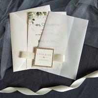 Invitación de boda de vellum con inserto personalizado y oro rosa brillante etiqueta bricolaje trazado envoltura quinceañera tarjetas dulce 15 fiesta de cumpleaños invitaciones