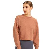 L-122 Frauen Hoodies entspannte Passform Sweatshirts Yoga Tops Outfit Allgleiches reines Baumwolle Sportmantel Jacke Freizeit Langarm Hemden Hemden Laufende Fitnessnütze