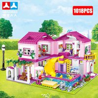 Friends City House Summer Holiday Villa Castle Building Blocks Sets Figur Swimming Pool DIY Toys for Kids Girls Birthday Gift