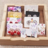 100pcs cute flower style earring paper package card DIY small stud earring card white kraft paper jewelry display card