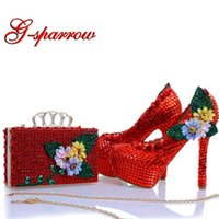 Dress Shoes Design Red Rhinestone Heels With Matching Bag Appliques And Crystal Wedding Bridal Party Prom Pumps Clutch
