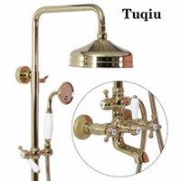 Tuqiu chuveiro de chuveiro de chuveiro torneira torneira com banheira de banho luxo banho ouro conjunto de banheira americana