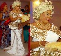 ASO EBI 2021 Vestidos de noche árabe Detalle de oro Cristales de encaje de lujo Peplum Mermaid V-cuello Vestidos de fiesta Satin Formal Fiesta Segunda recepción Batas