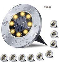 8 LED Solar Powered Disk Lights Outdoor Waterproof Garden Landscape Lighting for Yard Deck Lawn Patio Pathway Walkway